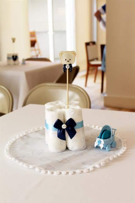 centro de mesa cha de bebe com fralda