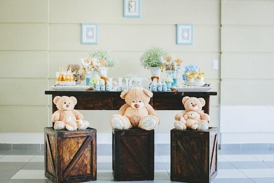 mesa para cha de bebe rustico