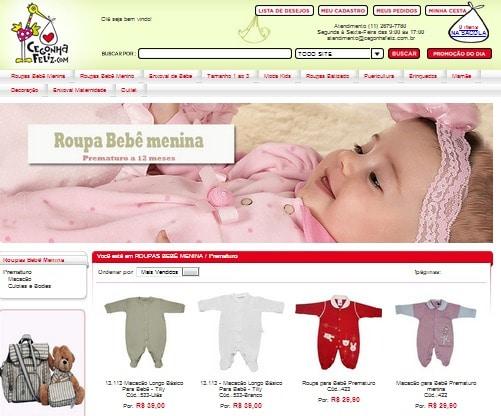 Lojas online para bebês prematuros.