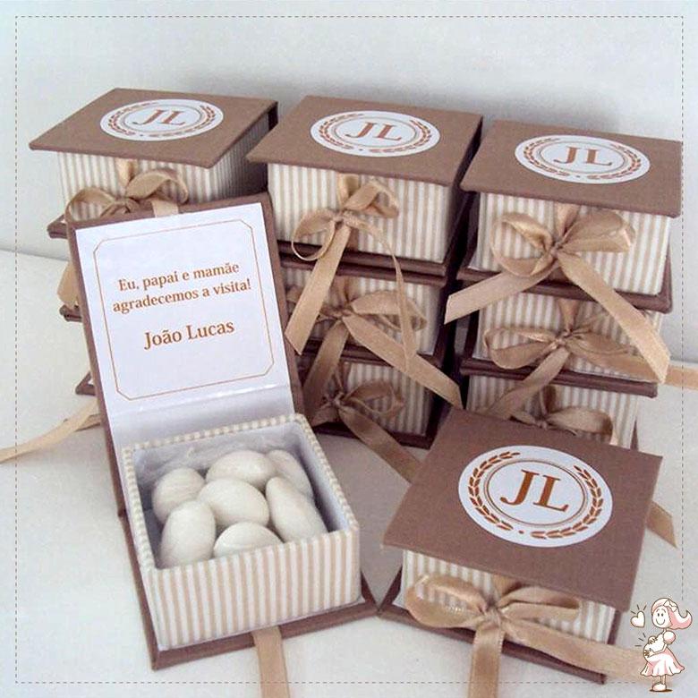 Lembrancinha de maternidade caixa amendoas