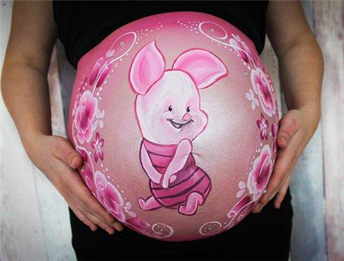 Desenhos faceis na barriga de gravida