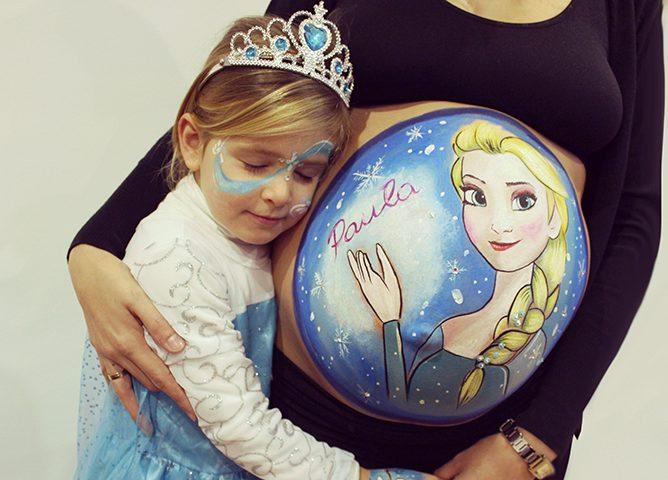 Fotos de desenhos na barriga de gravida