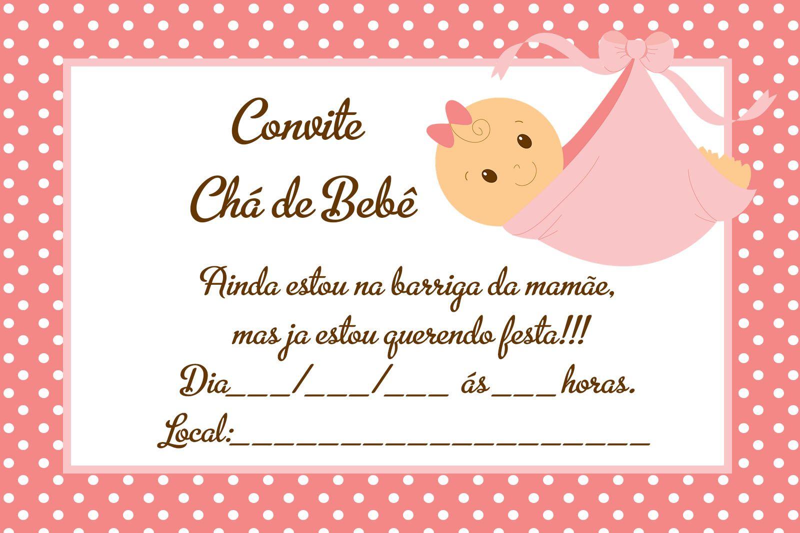 convite de chá de bebê rosa e marrom
