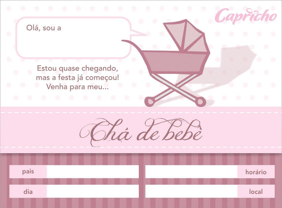 convite de cha de bebe feminino para imprimir