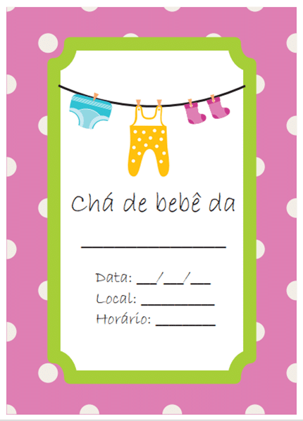 convite de cha de bebe gratis virtual