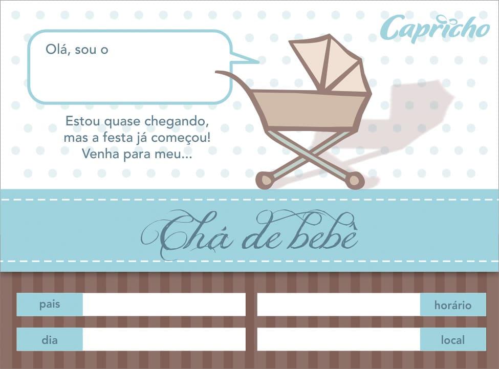imprimir convite de cha de bebe