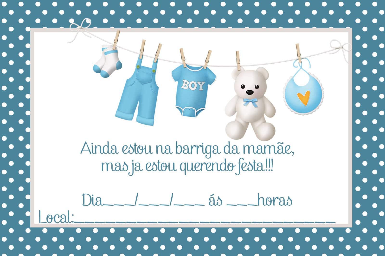 convite de cha de bebe boneca