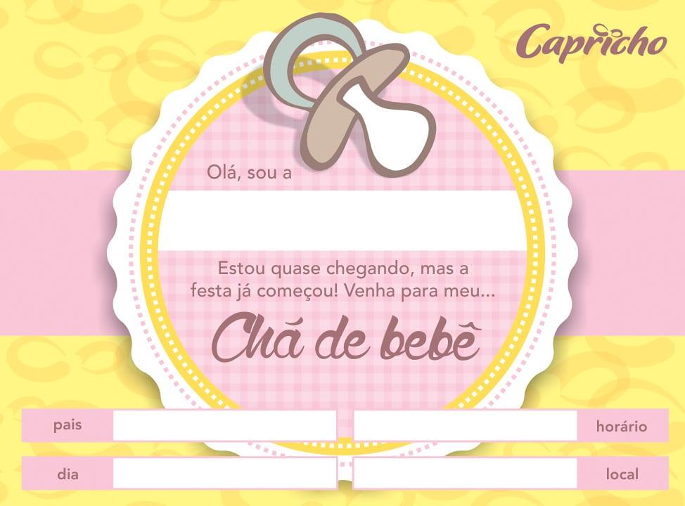 convite de cha de bebe marrom e rosa