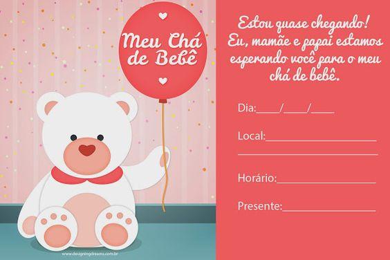 convite de cha de bebe marrom e rosa para imprimir
