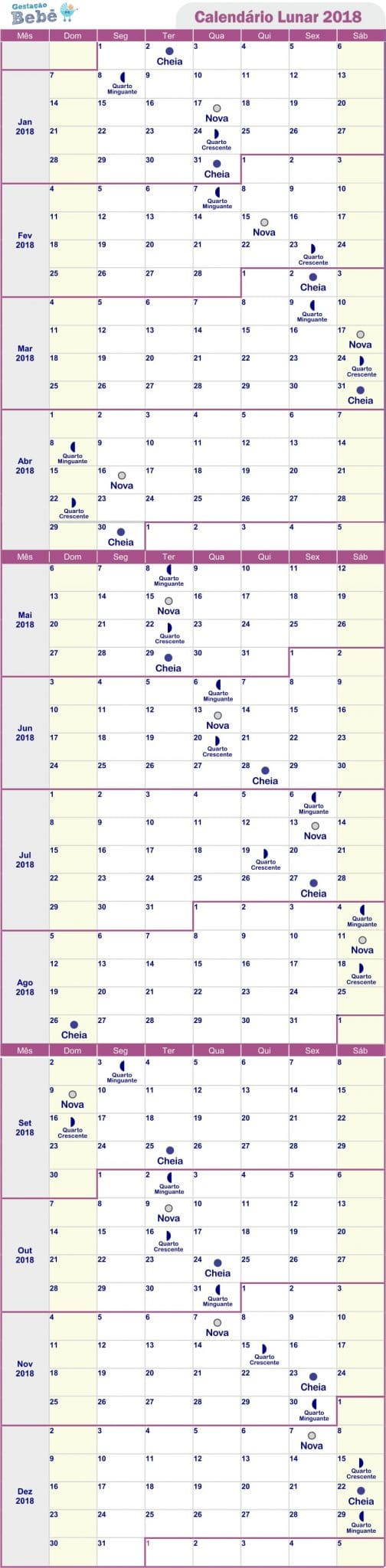 calendario lunar 2017 e 2018 gravidez