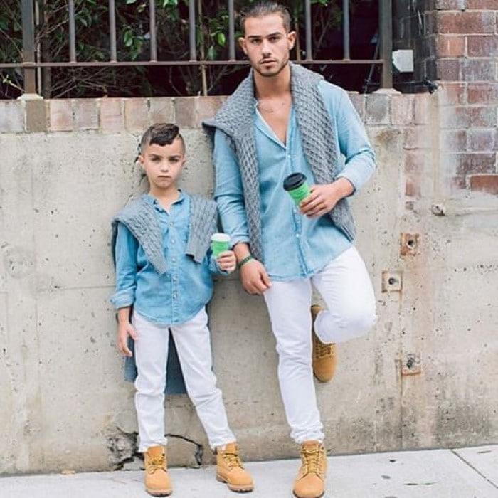 pai e filhos estilosos