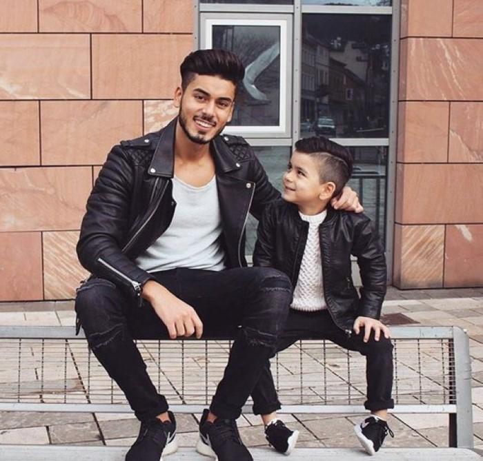 pai e filho arrumados