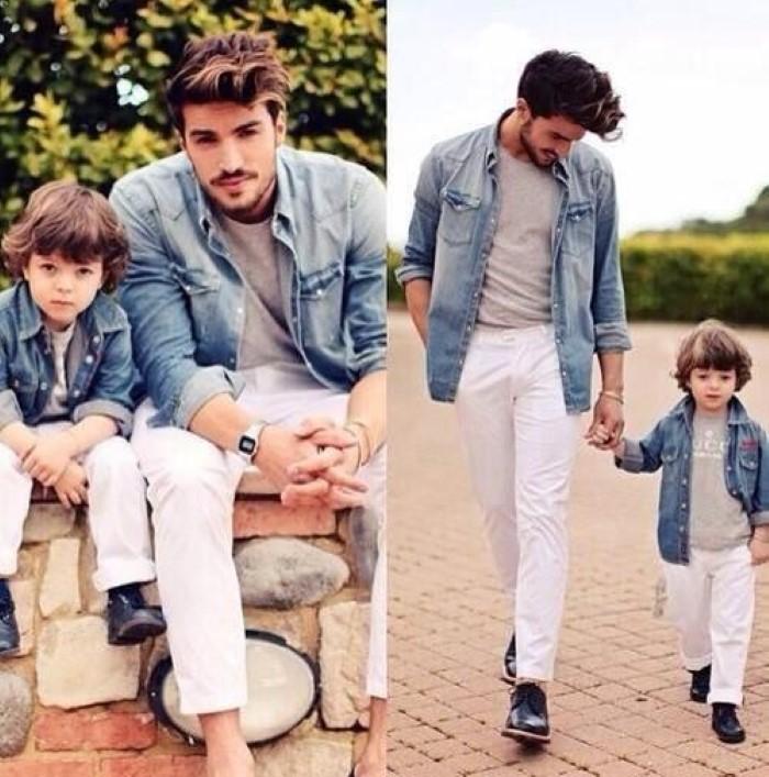 pai e filho vestidos iguais
