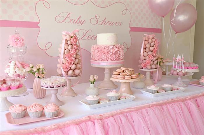 cha de bebe menina rosa e branco