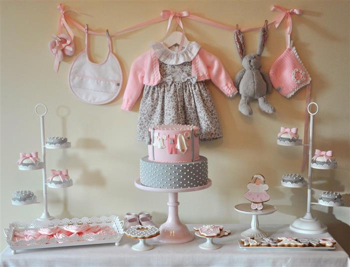 cha de bebe cinza e rosa