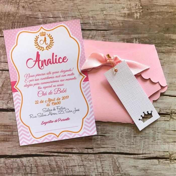 convite fralda rosa