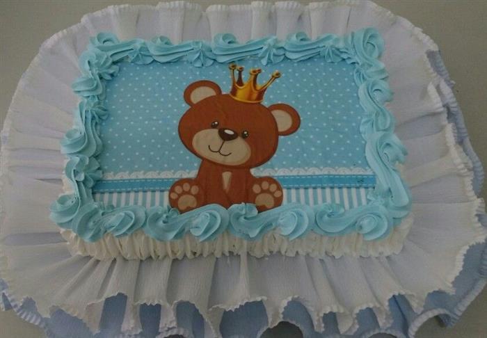 bolo azul e branco tema principe urso