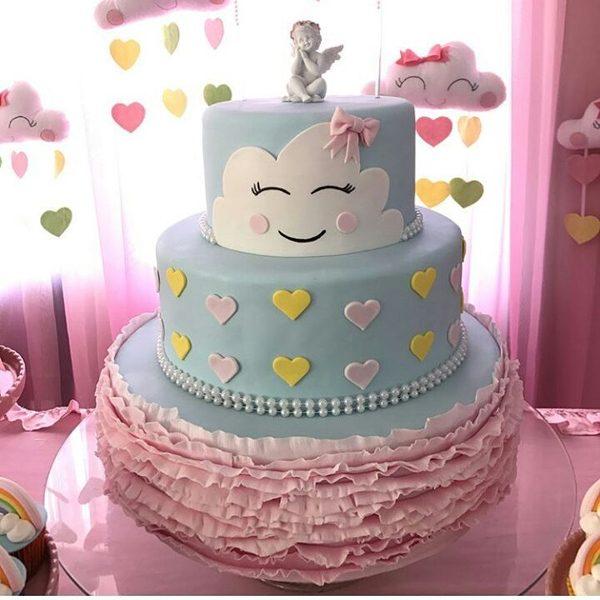 bolo cha de bebe chuva de amor feminino