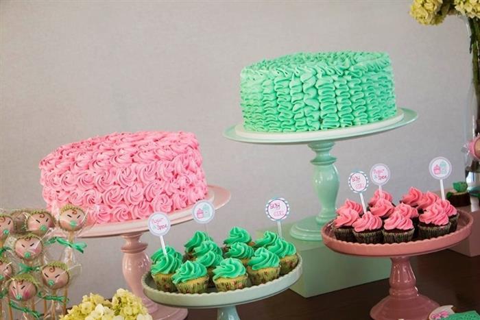 bolo de cha de bebe rosa e verde