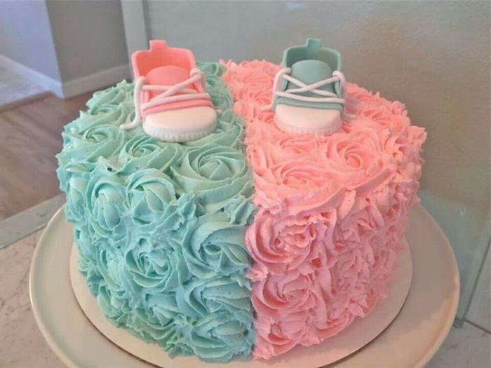 bolo de chá de bebe azul e rosa