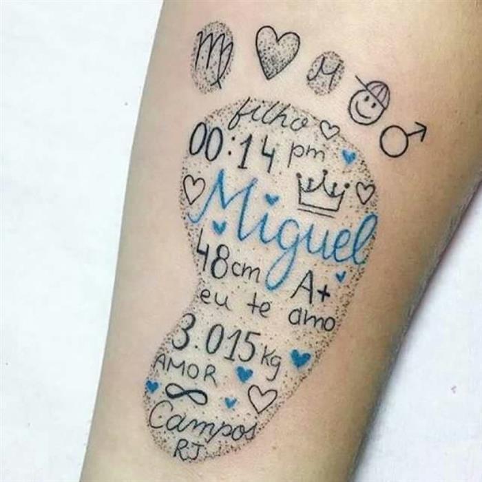 tatuagem pezinho de menino