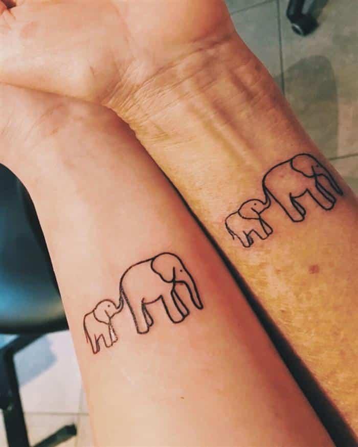 mãe e filha elefante