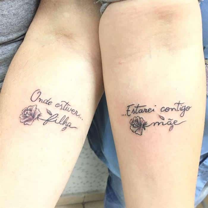Tatuagem mãe e filha onde estiver estarei contigo