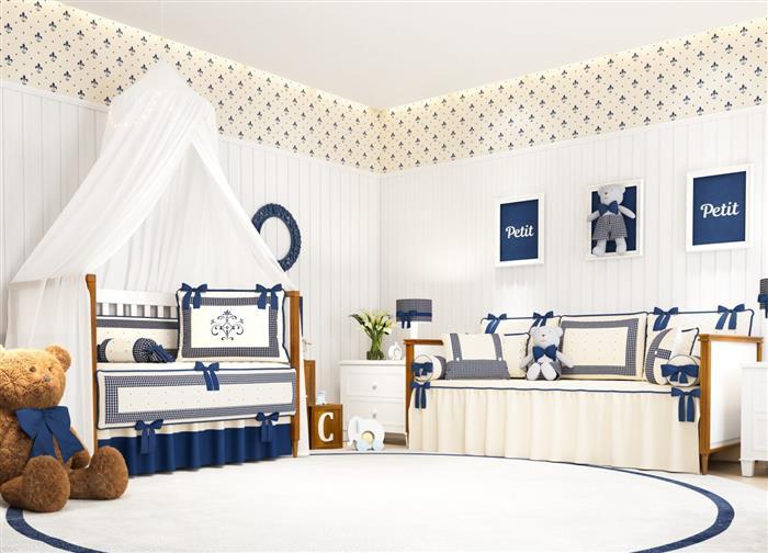 quarto de bebe azul marinho e bege