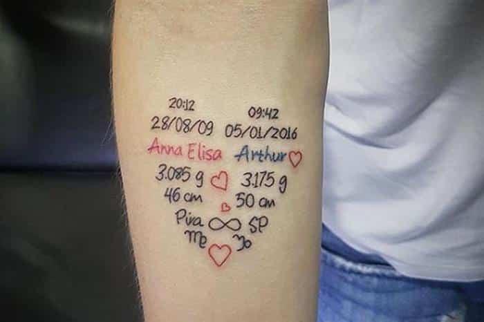 tattoo coração com nome do filho