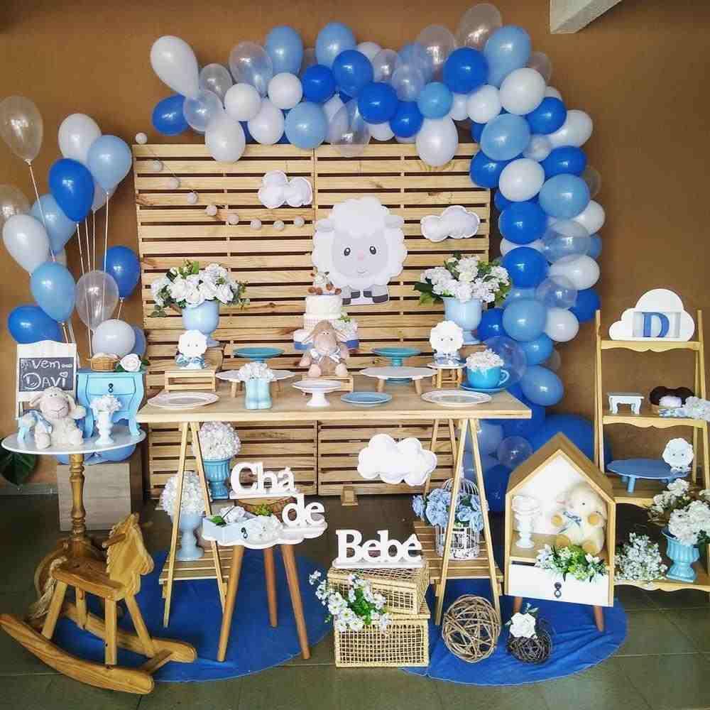cha de bebe azul e branco