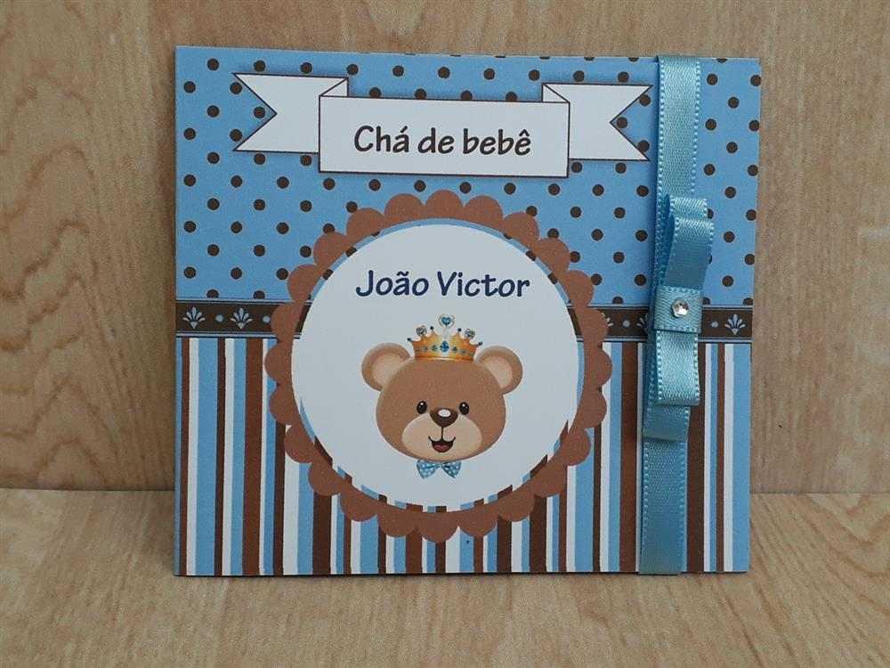 convite cha de bebe ursinho azul e marrom