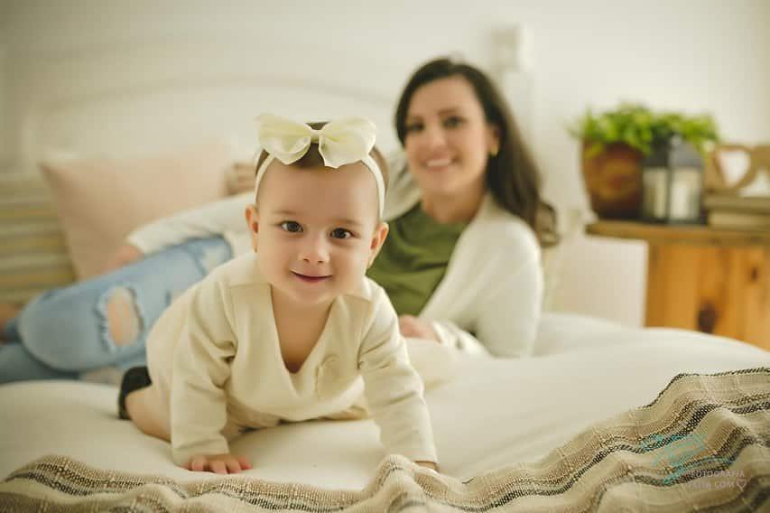 foto com o bebe sorrindo