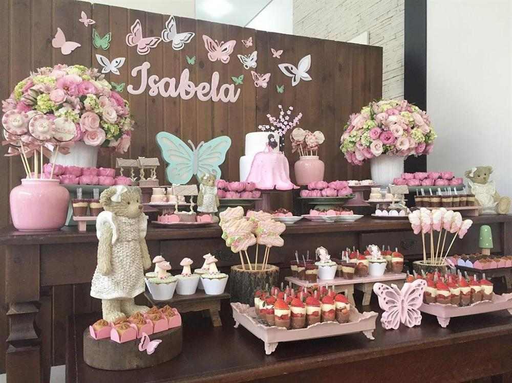 decoração de chá de fraldas de ursinho rosa