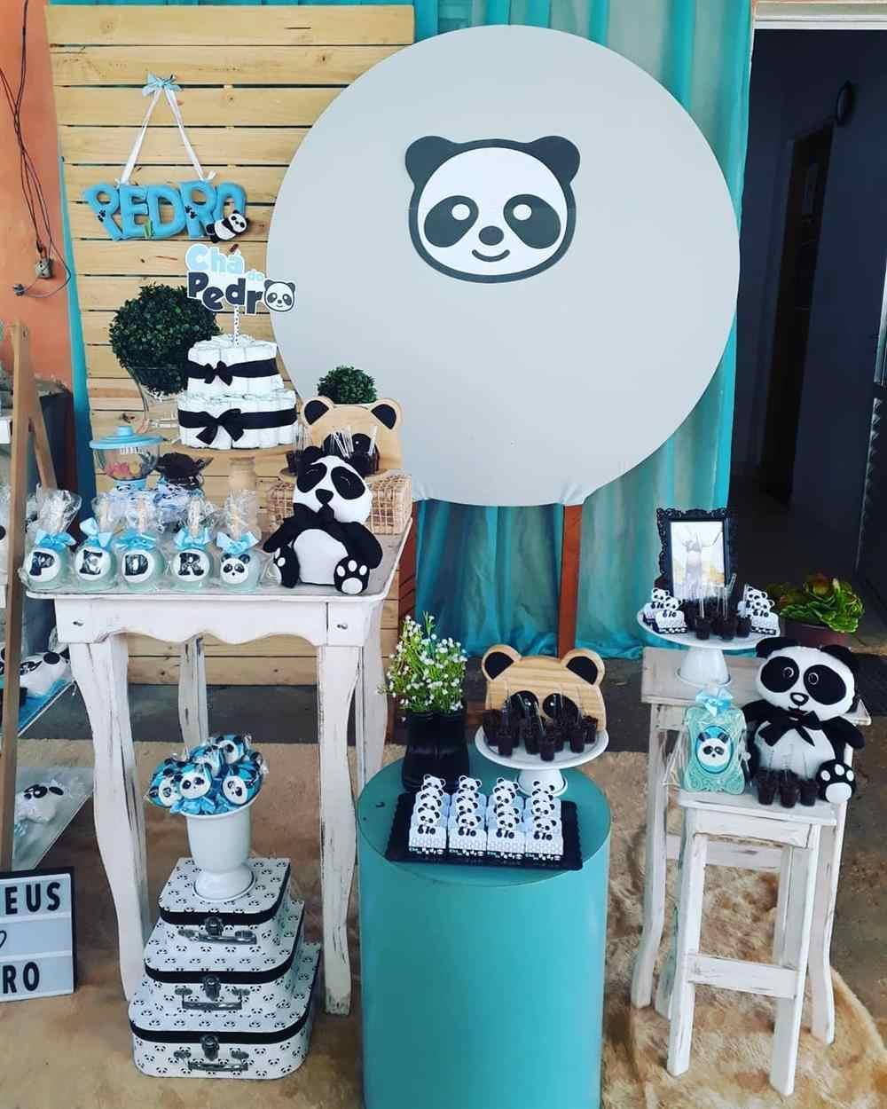 decoração de chá de fralda panda azul