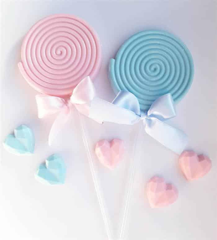pirulito azul e rosa