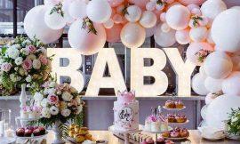 Decoração com balões simples para chá de bebê
