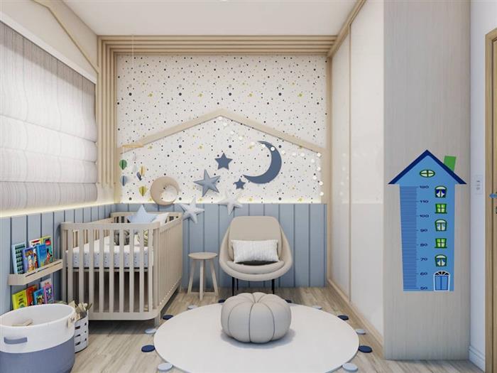 Quarta de bebe com lua e estrela