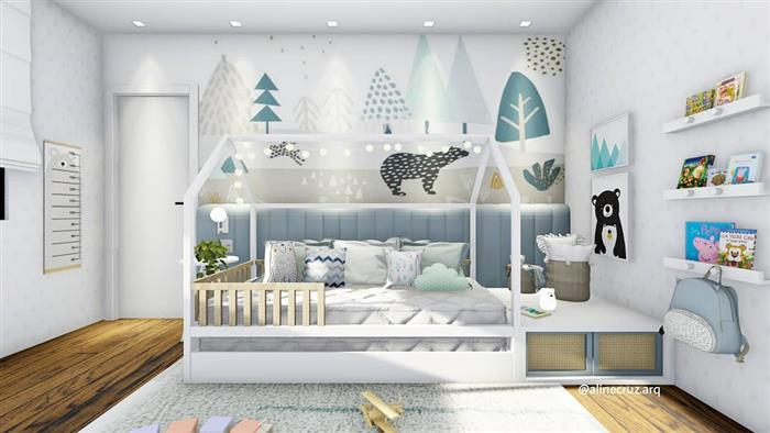 quarto de bebe masculino com papel parede