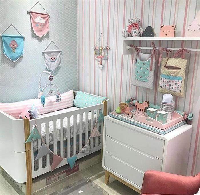 quarto de bebe feminino azul com rosa