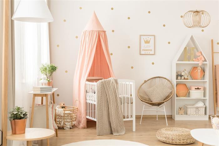 quarto de bebe feminino bege e rosa