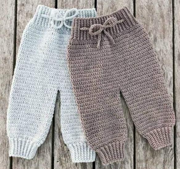 calças de croche de bebe