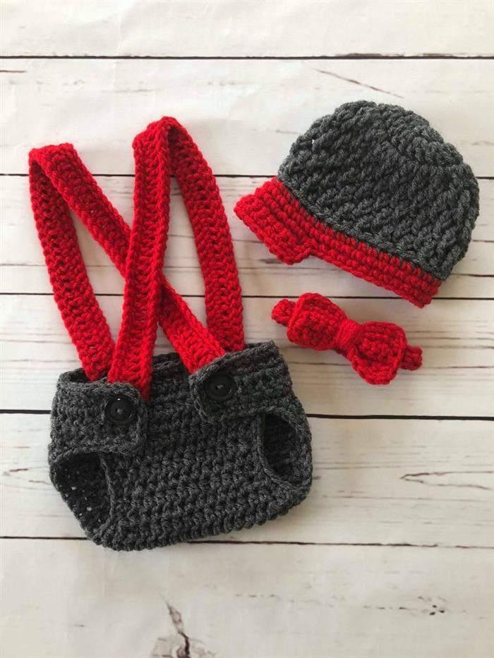 Conjunto de crochê para bebês menino