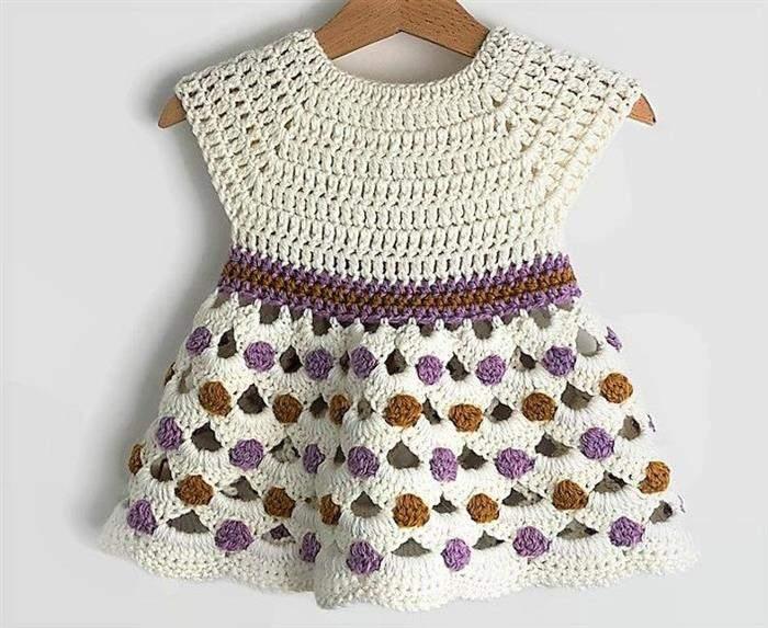 vestido para menina de croche