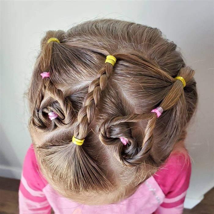 penteado infantil de coração