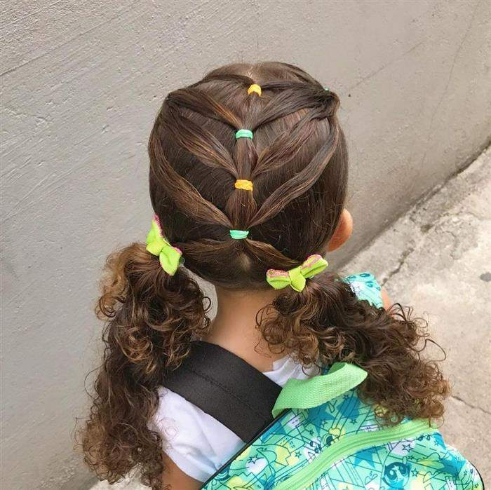 penteado infantil para escola cabelo cacheado