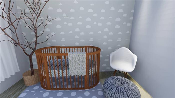 quarto de bebê cinza com nuvens