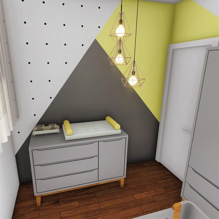 quarto de bebe cinza e amarelo