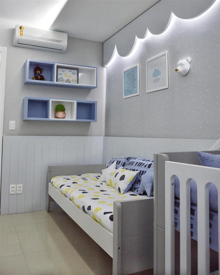 quarto de bebe cinza e azul