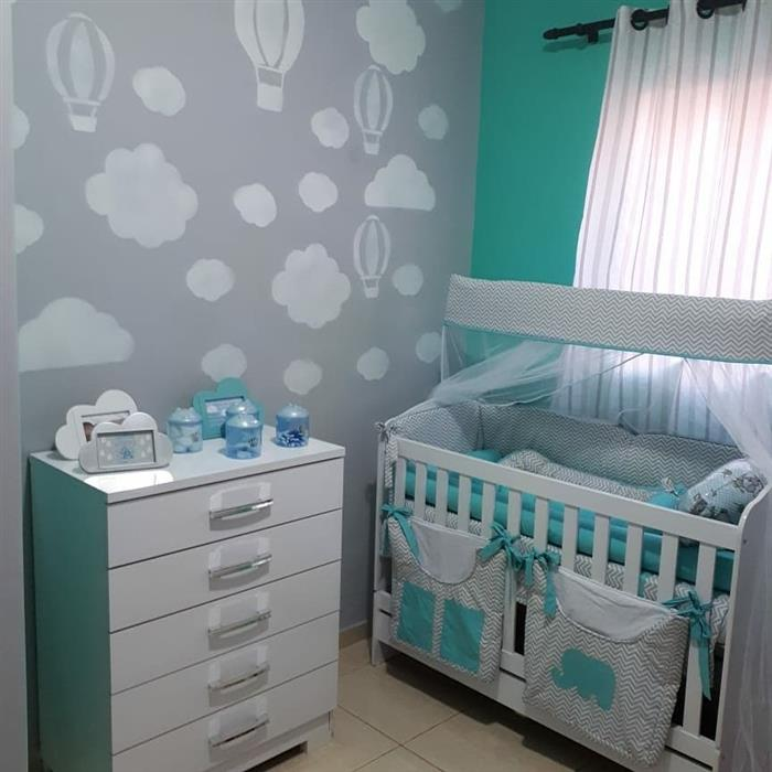 quarto de bebe cinza e verde