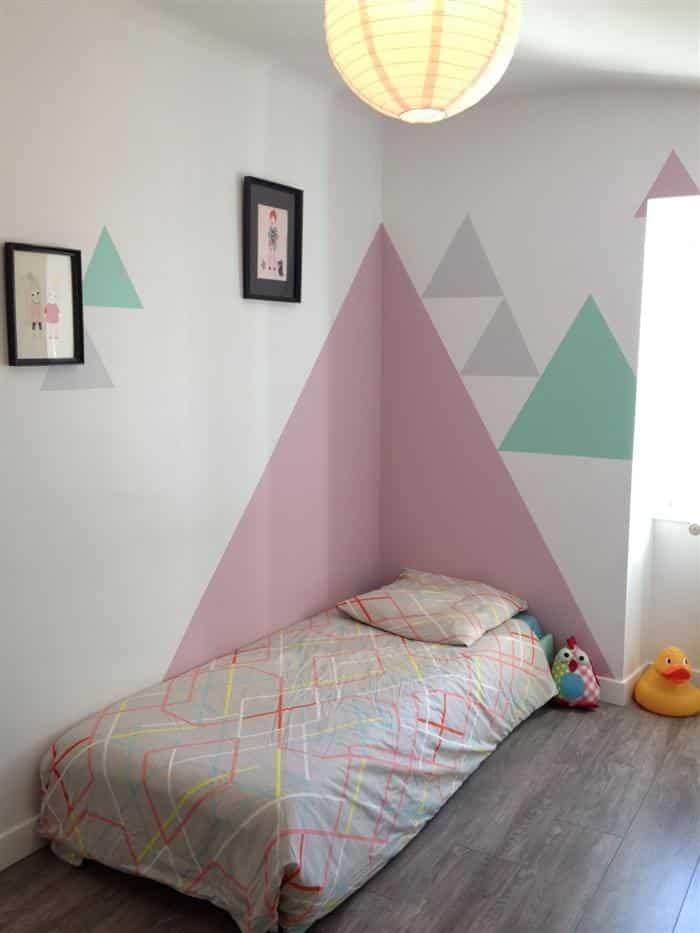 decoração de quarto infantil feminino gastando pouco com triangulos